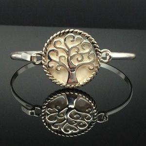 Jewelry - Mother-Of-Pearl Tree of Life Silver Bangle
